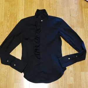 Ralph Lauren blue label Victorian ruffle black top